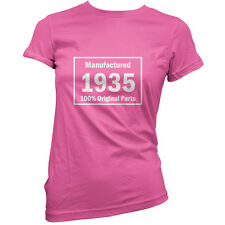 Manufactured 1935 Original Parts - Womens 80th Birthday Gift T-Shirt -11 Colours