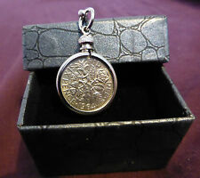 Lucky Sixpence Keyring 1960-1967 Birthday, Anniversary, Wedding etc. GIFT BOXED