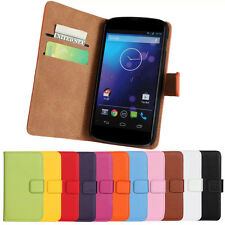 Magnetic Leather Wallet Stand Flip Cover Case Holder For LG Nexus 4 E960