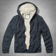 ABERCROMBIE & FITCH MEN SHERPA LINED WAFFLE HOODIE NAVY BLUE  M, L NEW
