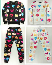 Men Women 3D White Black bow crown Emoji jogger Pants Sweatpants&Top Sweater Set