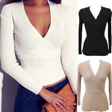 Sexy Ladies Deep V Neck Knitted Solid Long Sleeve Pullover Sweater Jumper Tops
