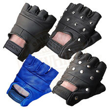 UNISEX LEATHER FINGERLESS GLOVES BIKER DRIVING CYCLING GYM TACTICAL & WHEELCHAIR
