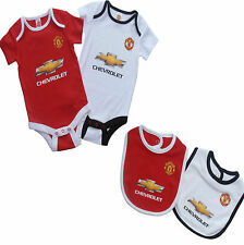 MANCHESTER UNITED FC BABY BODY SUIT SHORT SLEEVE GROW VEST TWIN PACK 2015 MUFC