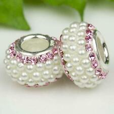 Gorgeous Pearls & Pink Crystals 925 Sterling Silver Bracelet Charm Bead