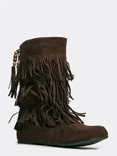 NEW WEST BLVD Women Tassel Bead Fringe Mid Calf Boots sz Brown Lima Moccasin143