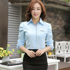 New Autumn winter Fashion Women Lapel Slim Long puff sleeve OL Tops Shirt Blouse