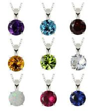 Sterling Silver 925 Round Solitaire Gemstone Pendant with Chain (6mm, 0.75 ct)