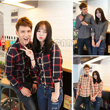 Spring Fashion Lover's Shirts Slim Vintage Plaid Long-sleeved Casual Couple Tops