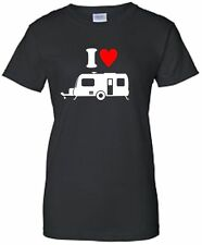 I Love (Heart) Caravans Ladies Fitted T-Shirt Camper TShirt Camping T Shirt