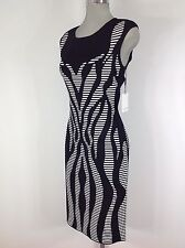 Calvin Klein NEW Sexy Black/Cream Abstract striped paisley design bodycon dress