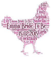 Personalised Hen Night Party Word Art Bride To Be Keepsake Gift Girls Wedding