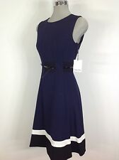 Calvin Klein NEW elegant Navy with Ivory and Black Dress striped bottom, belted