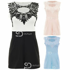 AL86 Ladies Crochet Lace Cut Out Sleeveless Womens Pleated All In One Playsuit