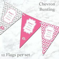 Personalised Bunting Pink Blue Yellow Baby Shower Decoration Banner Garland