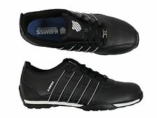 MENS K.SWISS ARVEE 1.5 BLACK/WHITE 02453013 LACE UP LEATHER TRAINERS 6-12