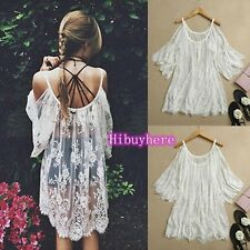 2015 Vtg Hippie Boho People Embroidery Floral Lace Crochet Mini Party Dress Tops