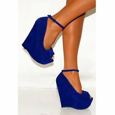 WOMENS BOWS WEDGED PLATFORMS WEDGES ANKLE STRAP PEEP TOES HIGH HEELS SHOES SIZE