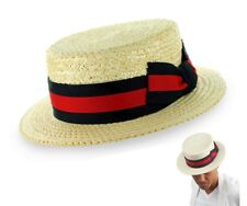 Scala Straw Boater Hat Skimmer Barbershop Sailor Size S M L XL XXL Mens New