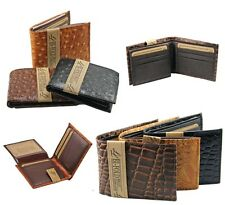 Mens Genuine Leather Wallet Bifold Ostrich Crocodile Print Card Slots