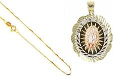 """10k Gold Tricolor Mis 15 Amos Quinceanera Virgin Mary,Pendant,18"""" Gold Box Chain"""