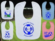 WIGAN ATHLETIC Football Baby Bib - White/Blue/Pink - Personalised Gift- Boy/Girl