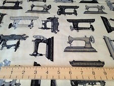 Robert Kaufman Vintage Couturier Old Sewing Machines Cream 100% Cotton Fabric