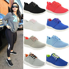 Señoras para mujer formadores Casual Bombas Lace Up Gym Fitness Running Malla Zapatos Talla