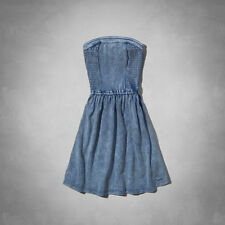 NWT Abercrombie & Fitch Womens Hadley Blue Denim Wash Skater Fit Dress ~ XS, S