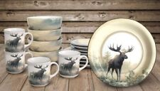 Moose Dinnerware Set Nature Theme 16 or 32 pc Service Kitchen Cabin Weekend Art