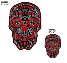 Tattoo Skull PATCH Large or Small Motorcycle Chopper Tattooed For Life Biker