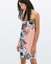 BNWT Zara Pink Floral Printed Dress With Border Size M