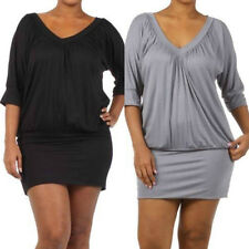Plus Mini Dress 3/4 V Neck Pleated 1X 2X 3X Party Club New Women Pleated Banded