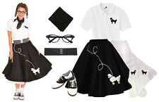 Hip Hop 50s Shop Womens 8 pc Black Poodle Skirt Outfit Halloween Costume