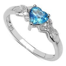 9CT WHITE GOLD HEART SHAPED BLUE TOPAZ & DIAMOND ENGAGEMENT RING - SIZE IJKLMOR