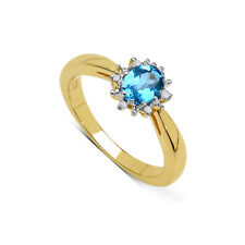 GOLD PLATED STERLING SILVER BLUE TOPAZ & DIAMOND ENGAGEMENT RING ( SIZE JPSUL)