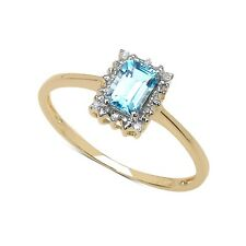 GOLD PLATED STERLING SILVER BLUE TOPAZ & DIAMOND ENGAGEMENT RING SIZE LMOPST