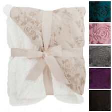 """Floral Embossed Sherpa Throw Blanket 50"""" x 60"""" Reversible Textured Fuzzy Soft"""