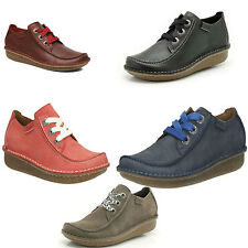 LADIES CLARKS LACE UP CASUAL FLAT COMFY SHOES STYLE FUNNY DREAM LEATHER/SUEDE