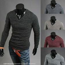 Mens New Casual V-neck Slim Fit Long Sleeve Knit Sweaters Cardigan Pullover j