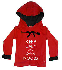 KIDS BOYS CHILDRENS ROBLOX INSPIRED OWN NOOBS HOODY HOODIE (RED)