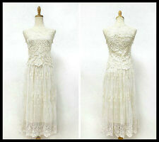 FREE GIFT +Vtg Crochet Floral Lace Hippie Romantic Top Beach Wedding Party Dress