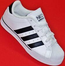 NEW Boy's Youth ADIDAS NEO White/Black Leather Athletic Skate Sneakers Shoes