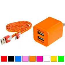 2 Port Fast Dual Wall Travel Charger+USB 3FT 3 FT Rope Cable Cord for Phones