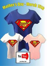 Supermum Tshirt Mothers day Mum super T-shirt superman mummy hero present gift