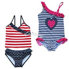 Girls kids One Piece Striped Swimsuit Swimwear Tankini Swimming Costume Age 2-8Y