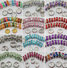 Lots50/100Pcs Mixed Crystal Rhinestone Round Spacer Loose Beads Findings DIY 8mm