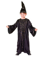 Childs Kids Wizard Cloak & Hat Fancy Dress Costume Halloween Book Day Outfit