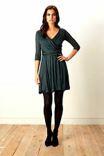 French Connection Great Plains Fit & Flare Jersey Dress Pine XS S M L XL