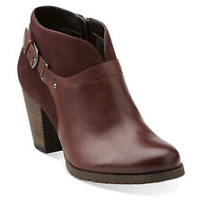 Clarks MISSION PARKER Womens Burgundy 03399 Leather Zip Heel Ankle Boot Shoes